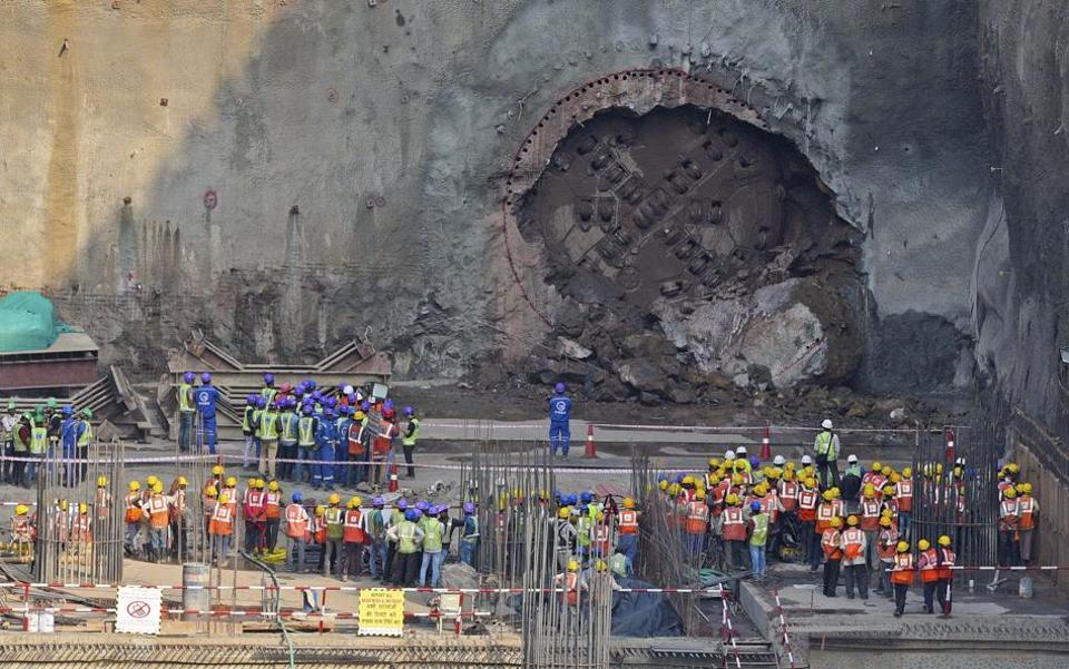 Fifth tunnel breakthrough package 7 of Mumbai Metro 3 at Chhatrapati Shivaji Maharaj International Airport.