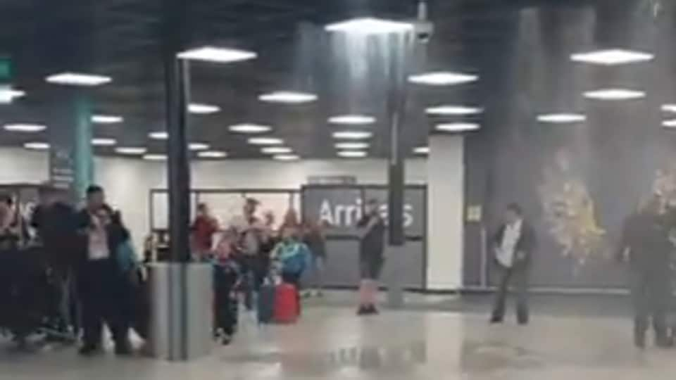 The video shows the airport flooded with rainwater. (Screengrab)