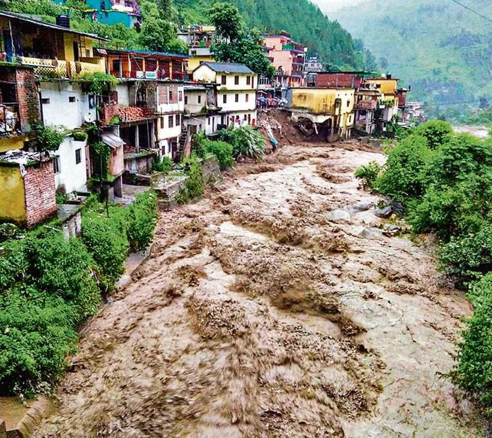 Flood water in Chamoli district of Uttarakhand on Monday.
