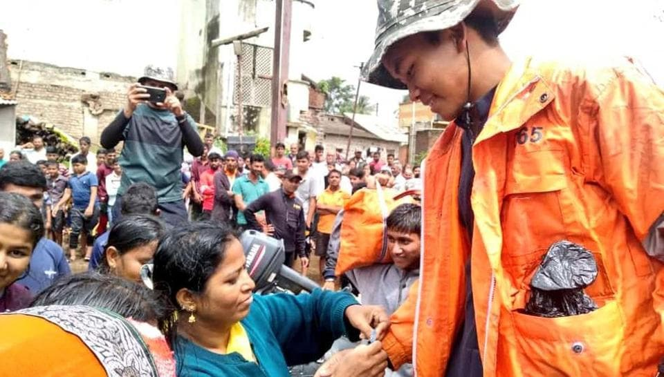 Some women in Maharashtra's Kolhapur district were seen tying 'rakhis' on the wrist of NDRF personnel.