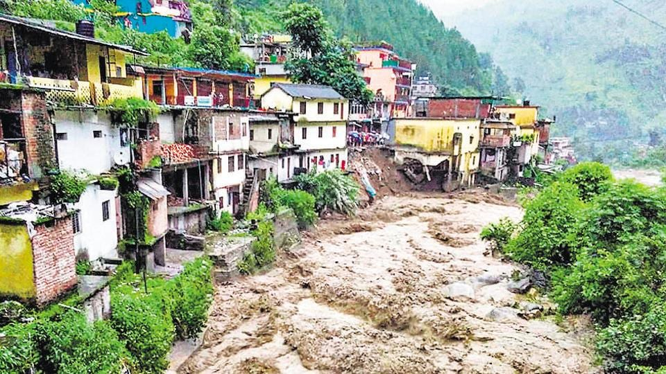 Chamoli: Flood water gush down after a cloudburst in Chamoli district, Monday, Aug 12, 2019)