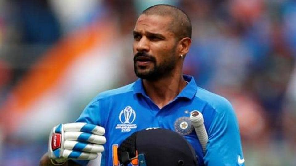 India's Shikhar Dhawan reacts after losing his wicket.