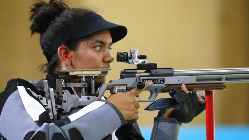 Indian shooter Anjum Moudgil in action.