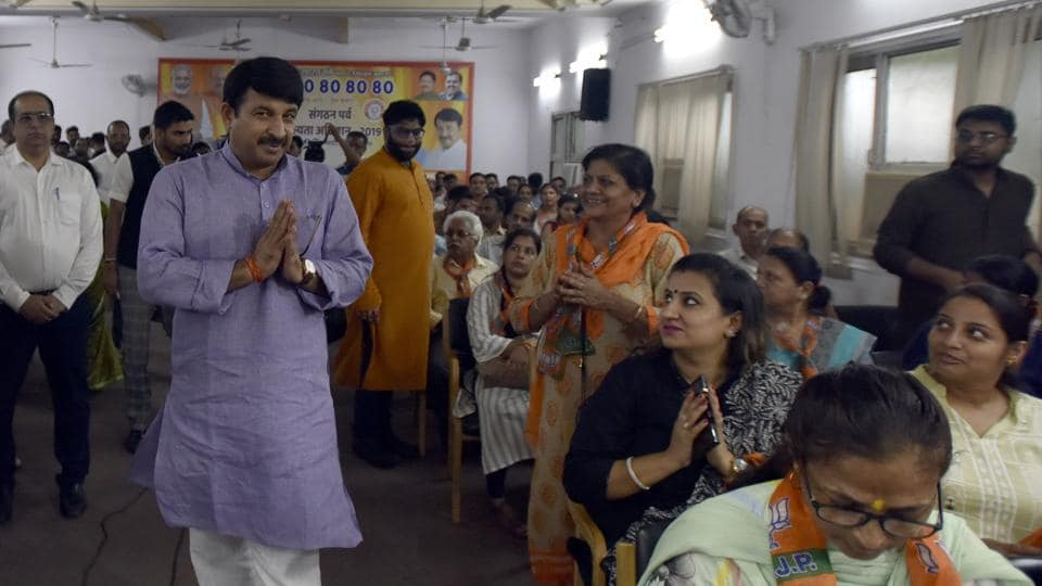 Delhi BJP President Manoj Tiwari arrives to attend a programme where large number of professionals joined BJP, at BJP headquarter, in New Delhi, India, on Monday, August 12, 2019.