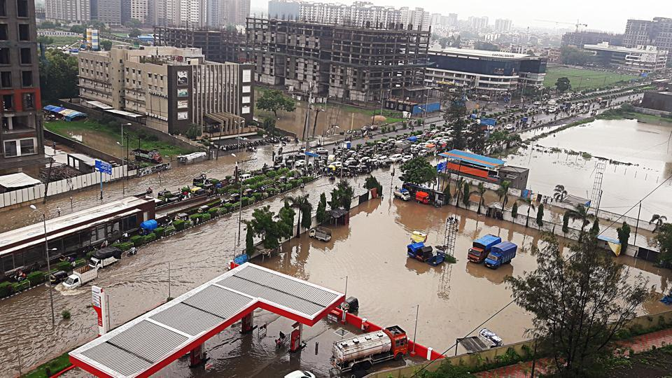 A view of flooded area after heavy rainfall in Surat, from last week.