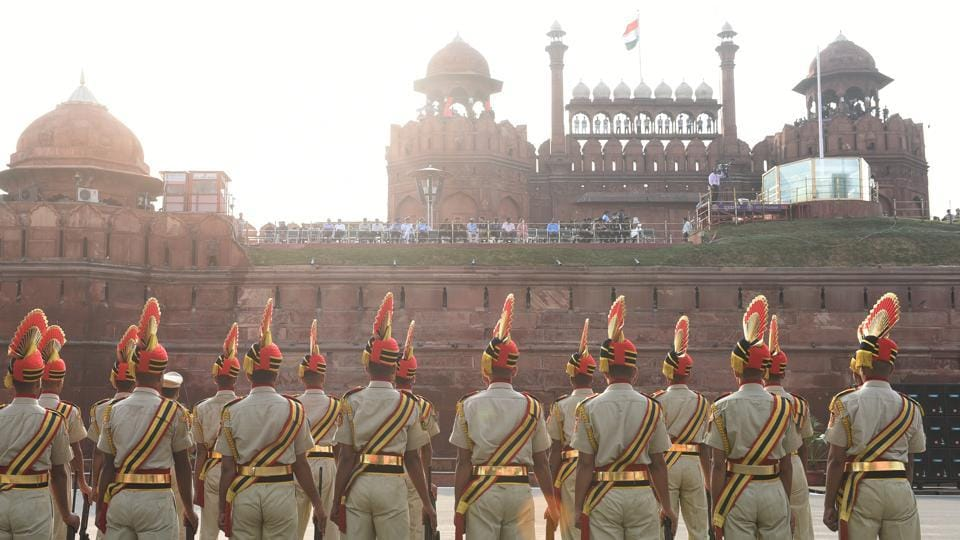 Delhi Police personnel during Independence Day rehearsal, at Red Fort, in New Delhi