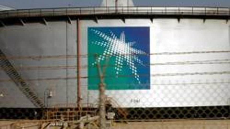 An oil tank is seen at the Saudi Aramco headquarters at Damam city.