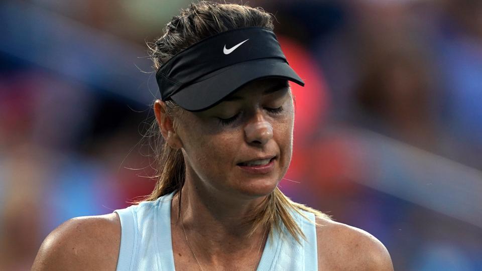Maria Sharapova (RUS) reacts against Alison Riske (USA)