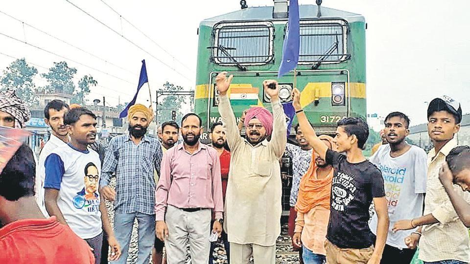 Protesters blocking tracks at Dhandari Kalan k in Ludhiana during Punjab bandh to protest the demolition of a Guru Ravidas temple in Delhi.