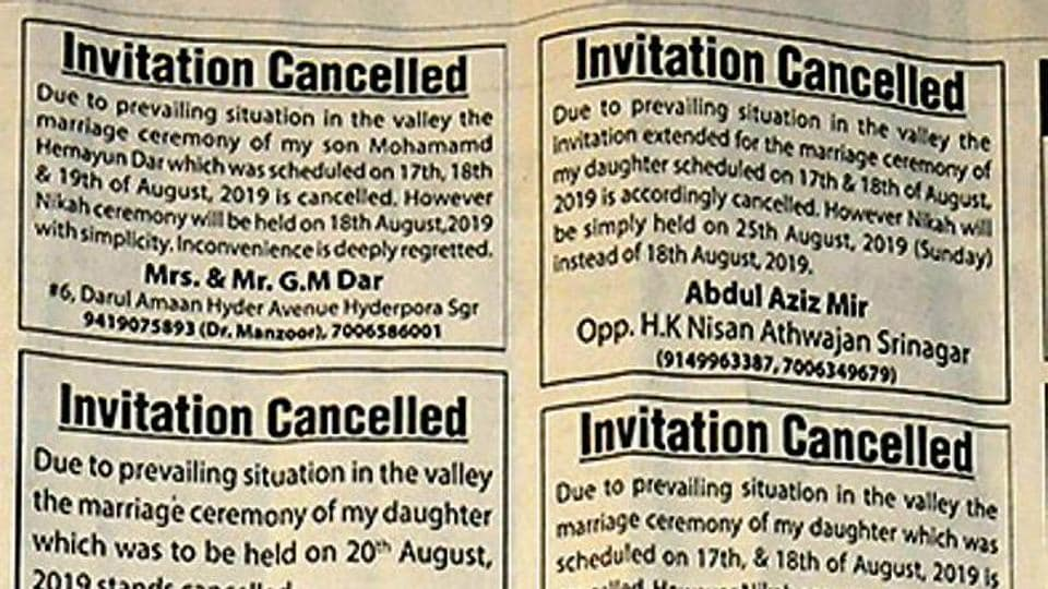A section of the Greater Kashmir newspaper shows announcements by families about the cancellation of the wedding functions of their family members owing to the prevailing conditions in the valley, in Srinagar, India, on Sunday, August 11, 2019.