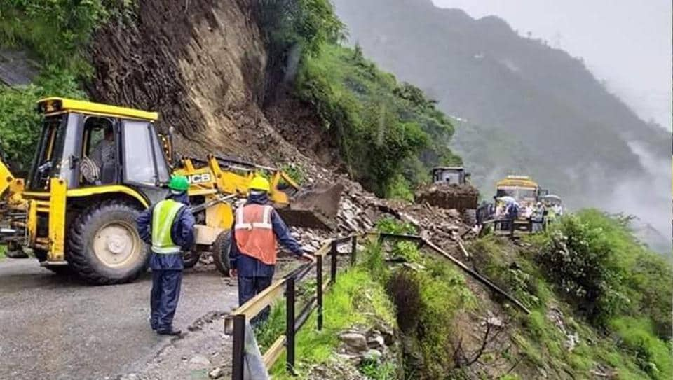 A landslide on a stretch of the Chandigarh-Manali highway in Mandi on Wednesday.