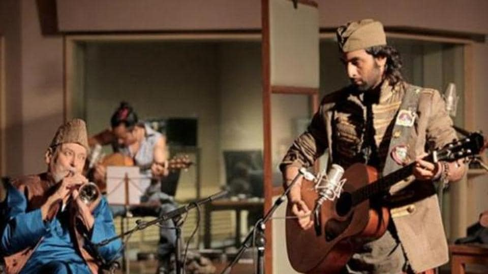 Shammi Kapoor and Ranbir Kapoor in a still from Rockstar.