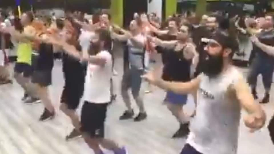 The clip shows the men dancing to the peppy number.(Screengrab)