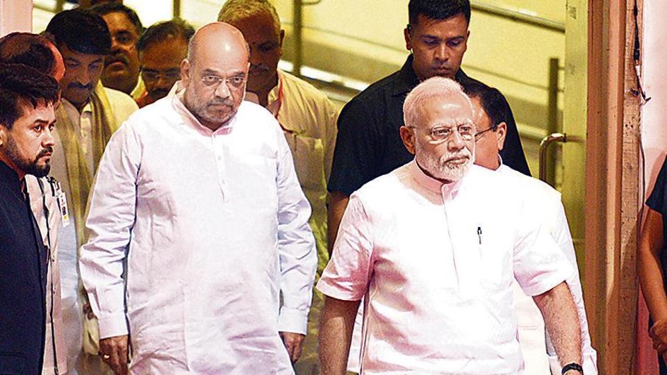 PM Narendra Modi and Union minister Amit Shah attend Sushma Swaraj's condolence meet in New Delhi on Tuesday.