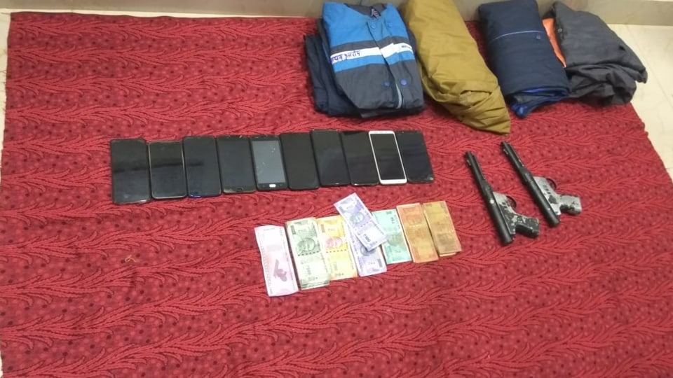 The items recovered from the arrested policemen in Chhattisgarh's Bastar. (Photo by Ritesh Mishra/HT)