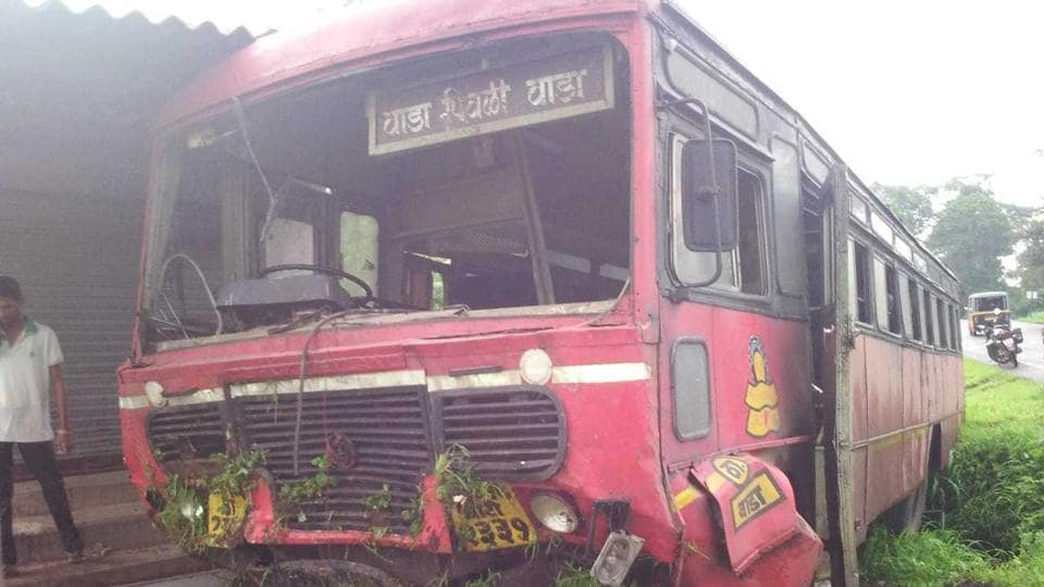 A total of 66 people, including the driver and conductor of a Maharashtra State Road Transport Corporation (MSRTC) bus, were injured after  the vehicle rammed into a tree in Palghar on Tuesday.