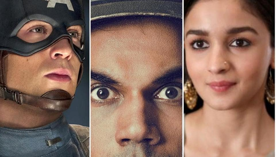 Chris Evans in a still from Captain America: The First Avenger, Rajkummar Rao in Newton, and Alia Bhatt in Raazi.