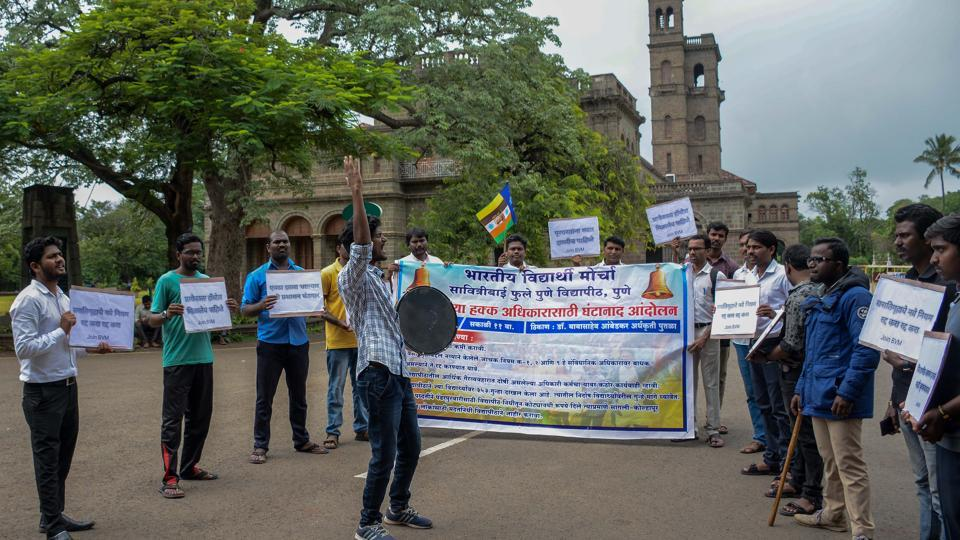 Students performed a street play outside Savitribai Phule Pune University's main building to highlight the issues they were facing on campus, on Tuesday.
