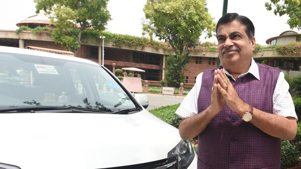 New Delhi, India- July 16, 2019: Minister for Road Transport & Highways of India and Shipping Ministry of Micro, Small and Medium Enterprises Nitin Gadkari arrives during the Budget Session at Parliament complex in New Delhi, India on Tuesday, July 16, 2019. (Photo by Sonu Mehta/ Hindustan Times)