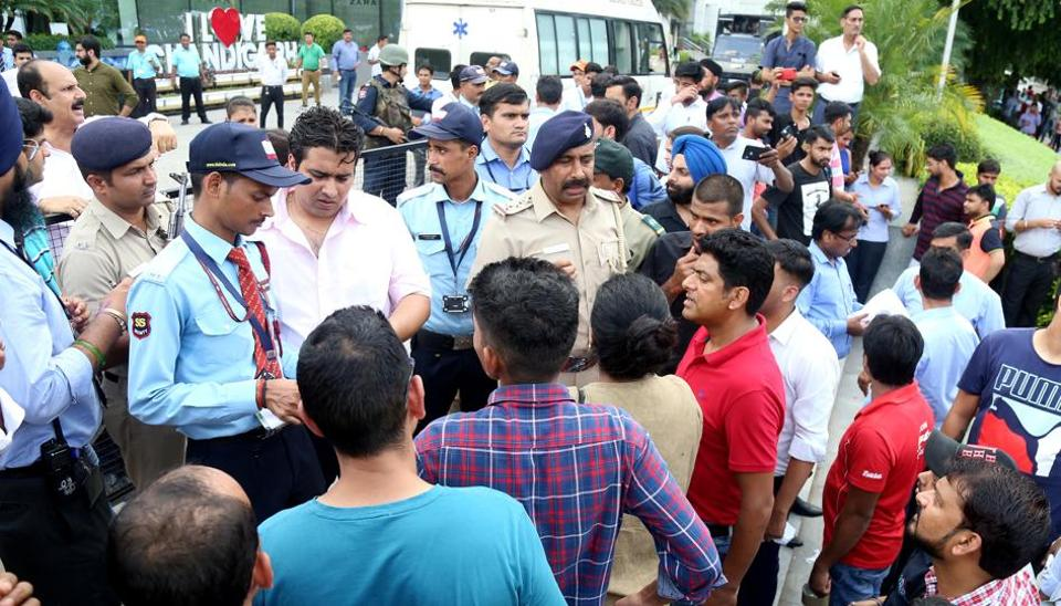 A bomb hoax sent security personnel in a tizzy and led to emergency evacuation of thousands of shoppers at Elante mall in Chandigarh.
