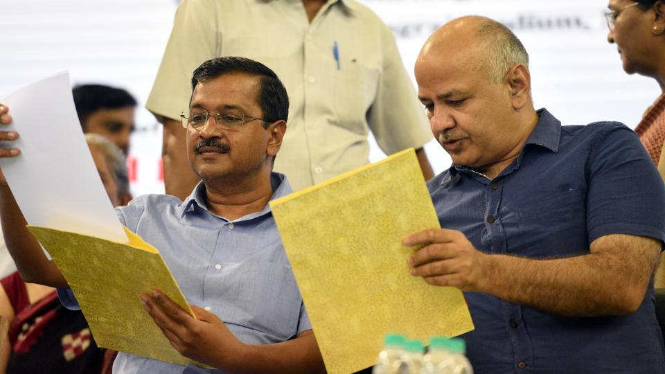 Delhi Chief Minister Arvind Kejriwal and Deputy Chief Minister Manish Sisodia during the