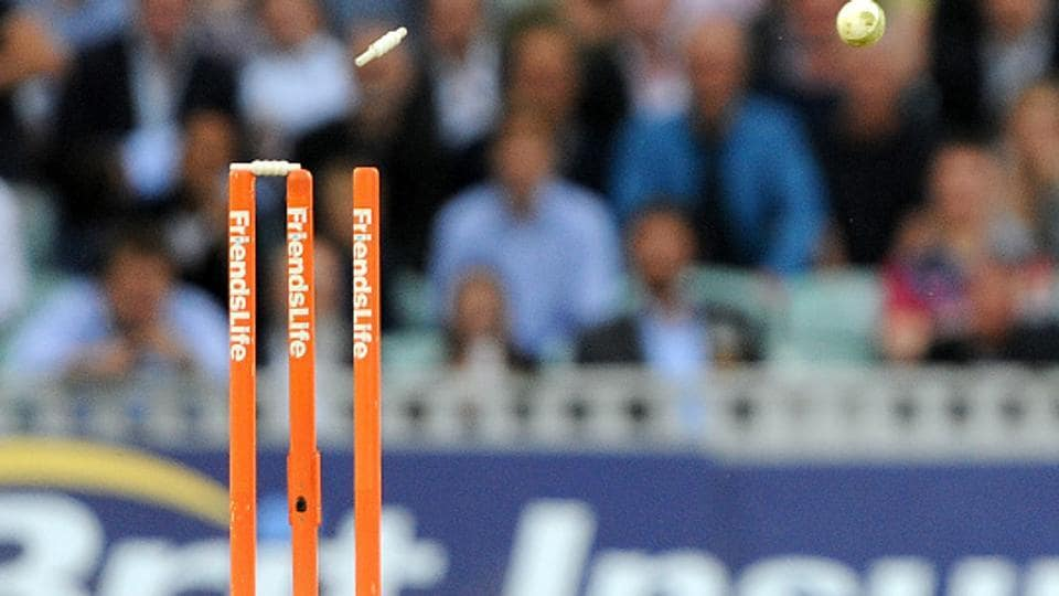 A generic view of a cricket ball dislodging a bail. Representational image.