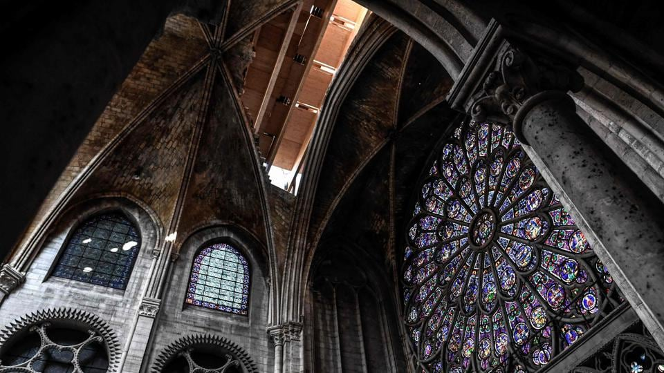 The rosette is seen during preliminary work in the Notre-Dame de Paris Cathedral three months after a major fire on July 17, 2019 in Paris.