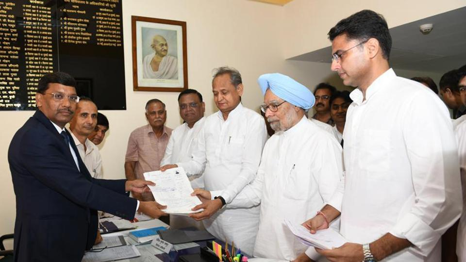 Jaipur, India, 13 August 2019 : Former P.M. Manmohan Singh along with C.M. Ashok Gehlot, Deputy C.M.Sachin Pilot and senior leaders of congress, file the nomination as an congress candidate, at state assembly in Jaipur, India, on Tuesday, 13 August 2019.
