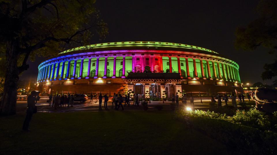 New Delhi: A view of illuminated Parliament, in New Delhi, Tuesday, Aug 13, 2019. The exterior of Parliament has been installed with permanent colourful lights ahead of the 73rd Independence Day celebrations and was inaugurated by PM Narendra Modi today. (PTI Photo/Atul Yadav)(PTI8_13_2019_000203B)