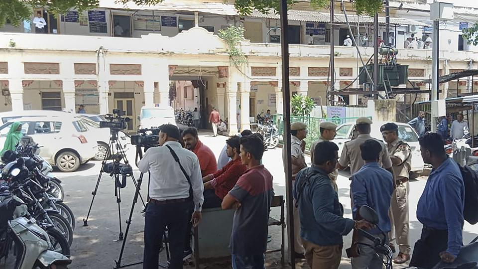 Media personnel outside the District Court ahead of the verdict on the Pehlu Khan mob lynching case, in Alwar on  Wednesday.