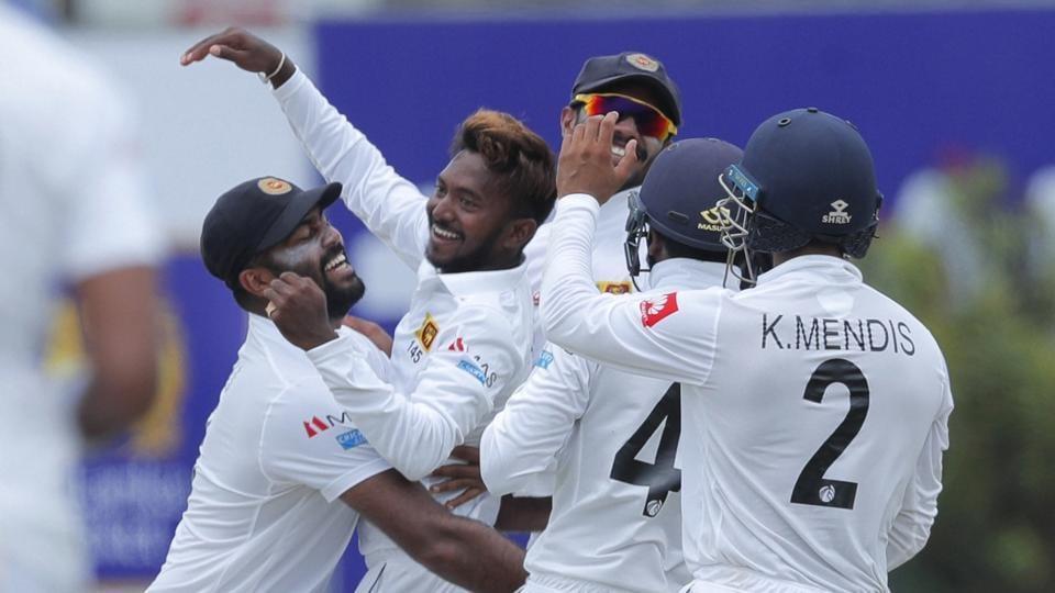 Galle: Sri Lanka's bowler Akila Dananjaya, second left, celebrates taking the wicket of New Zealand's Kane Williamson.