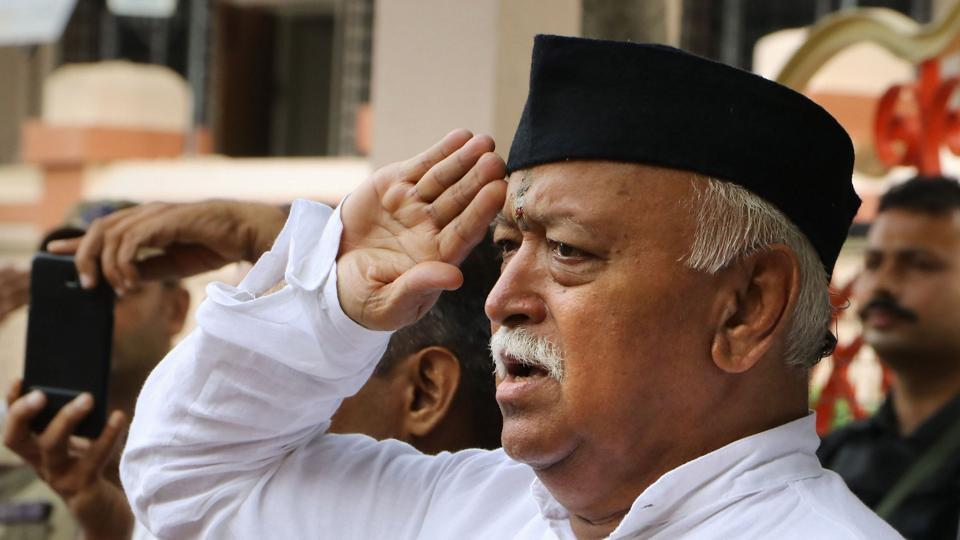 RSS chief Mohan Bhagwat salutes the national flag during the 73rd Independence Day celebration at RSS headquarters, in Nagpur, Maharashtra, on, August 15, 2019.