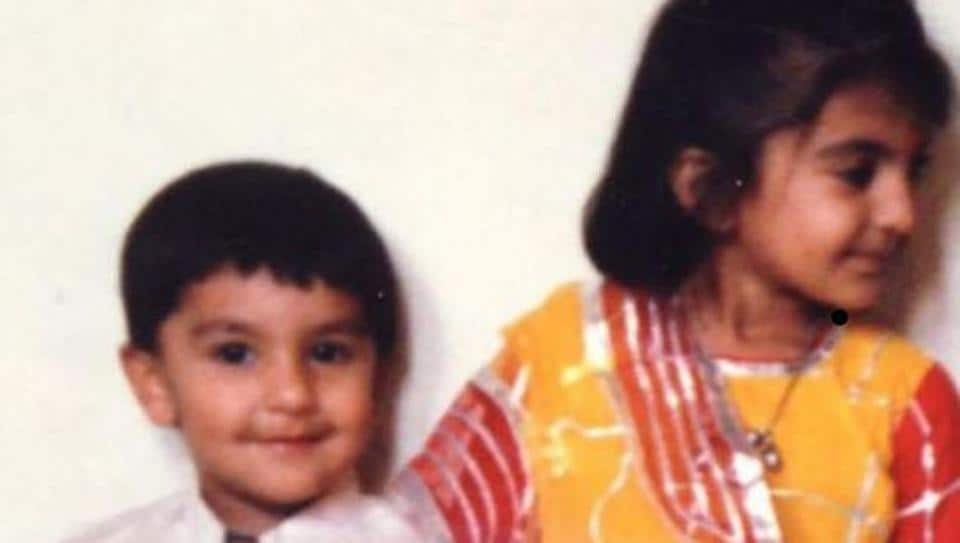Siblings Ranveer Singh and Ritika Bhavnani as kids.