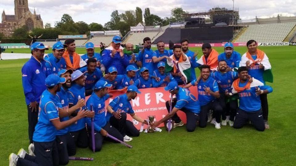 Indian team celebrates win.