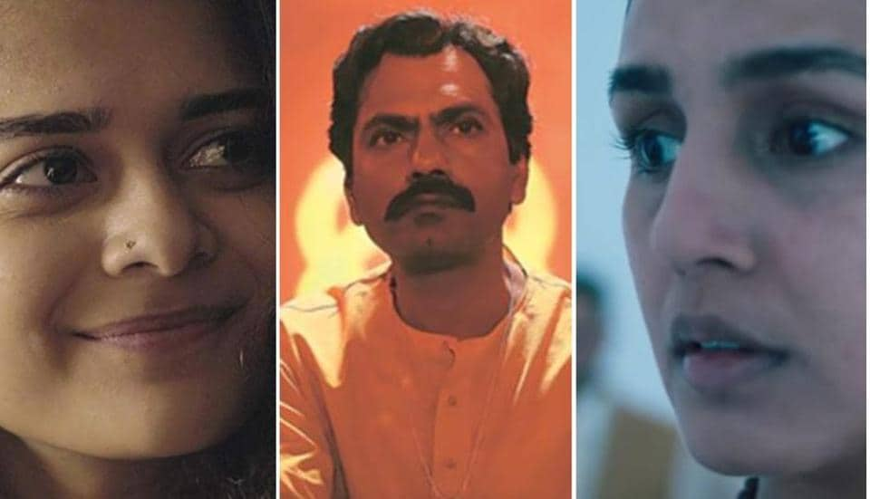 Netflix India shows ranked: Mithila Palkar in a still from Little Things, Nawazuddin Siddiqui in Sacred Games 2, and Huma Qureshi in Leila.
