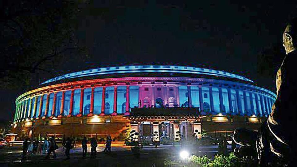 A view of illuminated Parliament House after Prime Minister Narendra Modi inaugurated the Dynamic Facade Lighting of the Parliament House Estate, in New Delhi, India, on Tuesday, August 13, 2019.