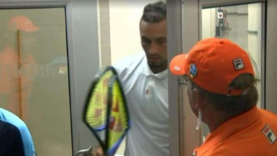 Nick Kyrgios smashed two racquets in the changing room