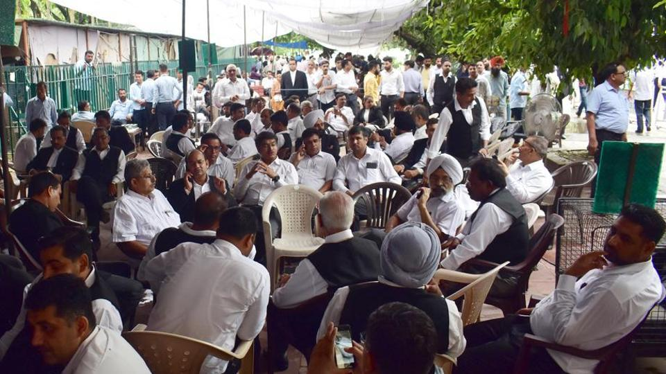 The Punjab and Haryana high court on Wednesday categorically told lawyers on strike against the Haryana's move to set up an administrative tribunal to shift the protest to some other place from its entry gates.