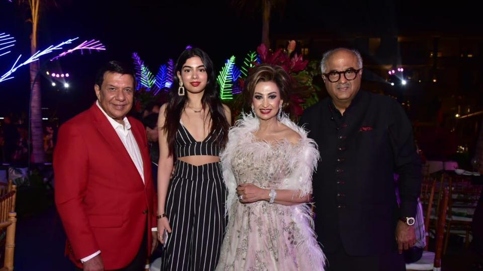 Boney Kapoor and Khushi spotted at a family friend's wedding.