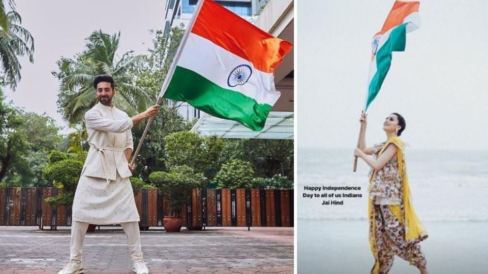 Independence Day 2019: AyushmannKhurrana and Taapsee Pannu wave the tricolour.