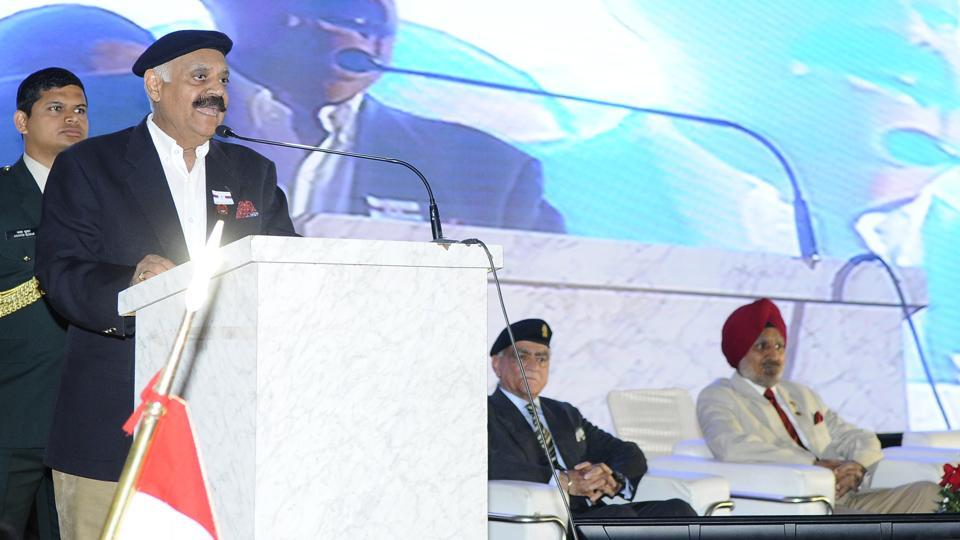 Punjab governor and UT administrator, VP Singh Badnore, raised the issue of drug trade and water conversation in his Independence Day message to people.  Photo by Anil Dayal/Hindustan Times