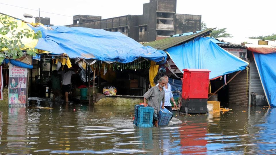 The flooded flower market  in Kalyan, India, on Monday. August 5 .2019