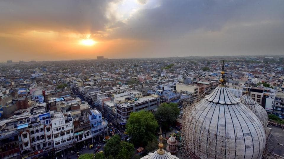 An aerial view of Chandni Chowk, in New Delhi.
