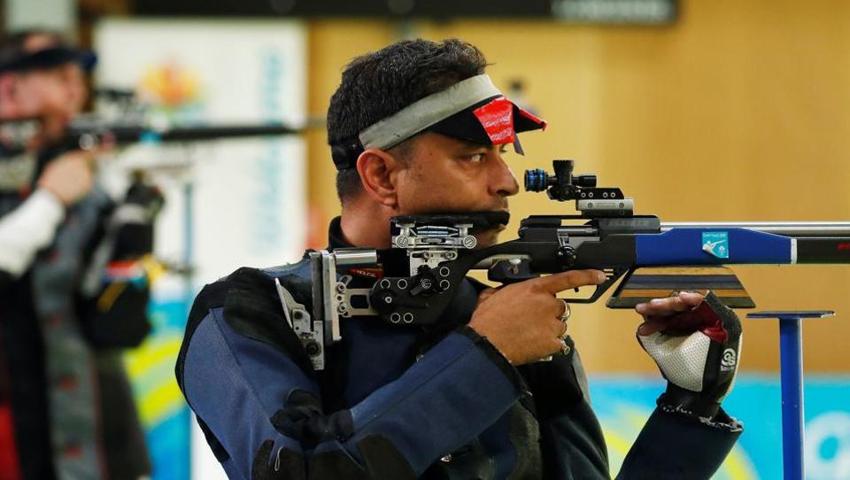 FILE PHOTO: Shooting - Gold Coast 2018 Commonwealth Games - Men's 50m Rifle 3 Positions - Finals - Belmont Shooting Centre - Brisbane, Australia - April 14, 2018. Sanjeev Rajput of India.