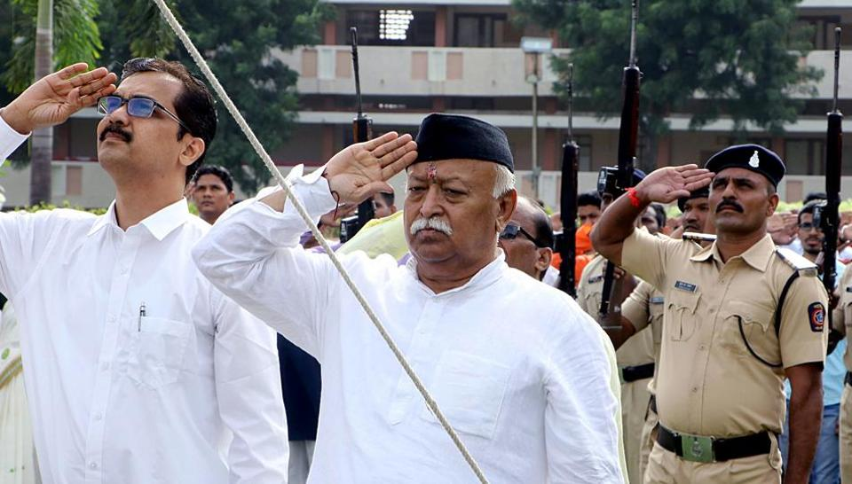 RSS chief Mohan Bhagwat salutes the national flag during the 73rd Independence Day celebration at RSS headquarters in Nagpur on Thursday.