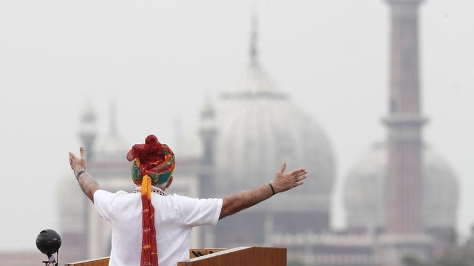 Prime Minister Narendra Modi addresses the nation during Independence Day celebrations at the Red Fort in Delhi, August 15, 2019.