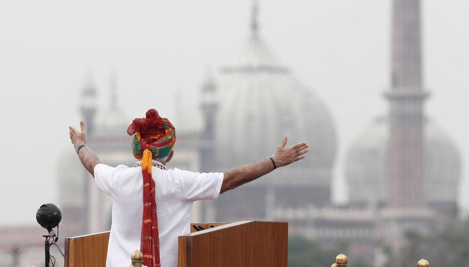 Prime Minister Narendra Modi addressed the nation during Independence Day celebrations at Red Fort in Delhi on August 15, 2019.