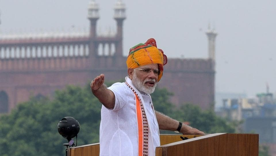 """The 92-minute long speech saw Mr Modi acknowledge his government's legislative push in its first 75 days in power; riff off the slogan """"One nation; one Constitution"""", with specific reference to Article 370; dwell on his pet themes of Ease of Doing Business, Ease of Living, and Digital India; and address concerns about the economy, but it also featured six interesting messages including the government's latest mission"""
