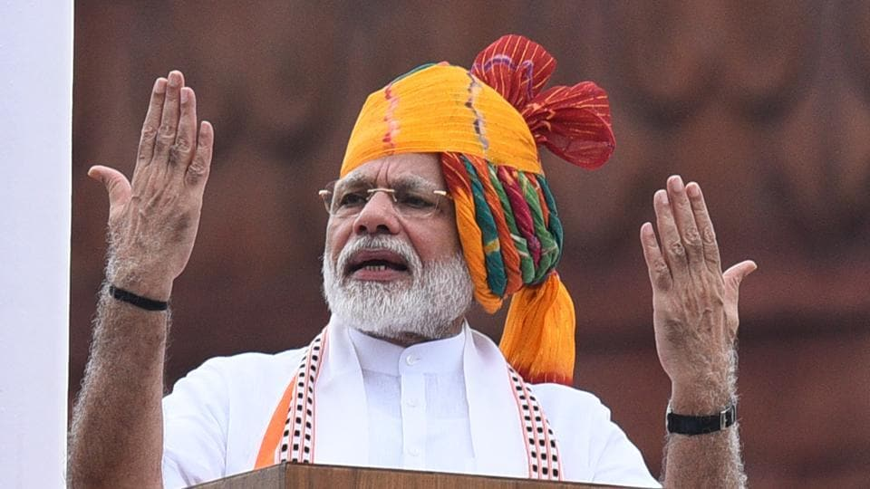 Prime Minister Narendra Modi addresses the nation from the rampart of Red Fort during the 73rd Independence Day, in New Delhi, India, on Thursday, August 15, 2019.