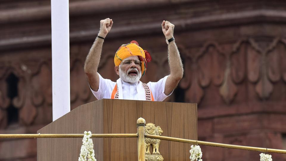 Prime Minister Narendra Modi addressed the nation during Independence Day celebrations from the Red Fort in New Delhi on Thursday, August 15, 2019.